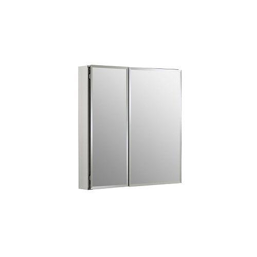 Armoire à double porte en aluminium de 25 pouces de large et 26 pouces de haut avec porte carrée à miroir en argent
