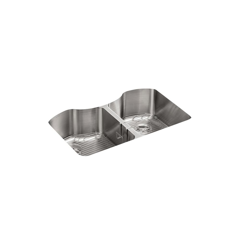 KOHLER Octave 32 inch X 20-1/4 inch X 9-5/16 inch Under-Mount Double-Equal Stainless Steel Kitchen Sink