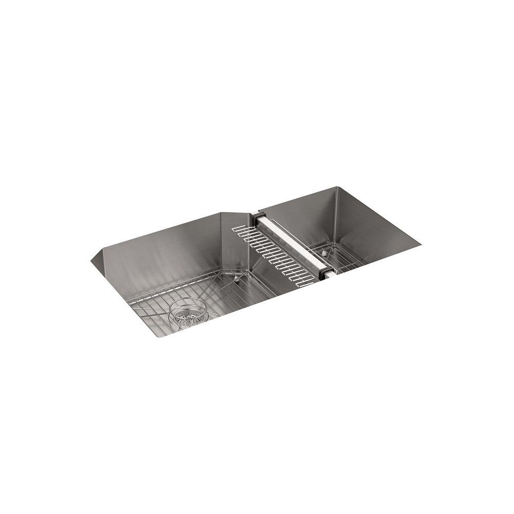 KOHLER Evier de cuisine a double cuve tres grande/moyenne Strive, 35 1/2 x 20 1/4 x 9 5/16 po, en sous-surface, avec support d'evier