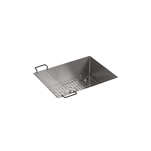 Evier de cuisine simple Strive en acier inoxydable, 24 po x 18 1/4 po x 9 5/16 po, en sous-surface, avec support d'evier