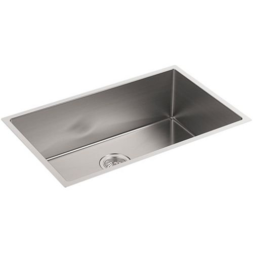 KOHLER Strive Undermount Stainless Steel 18.3125X29X9.3125 0-Hole Single Bowl Kitchen Sink