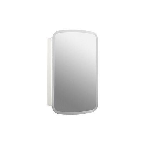 Armoire a pharmacie en aluminium Bancroft, 20 x 31 po, avec une porte a miroir et bords biseautes.