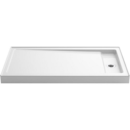 Bellwether 60 inch X 34 inch Single-Threshold Shower Base With Right Center Drain, White