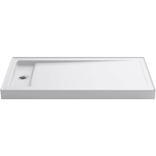 Bellwether 60 inch X 32 inch Single-Threshold Shower Base With Left Offset Drain, White