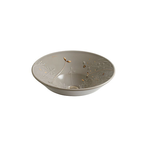 Gilded Meadow(TM) with gold accents on Conical Bell(R) vessel bathroom sink