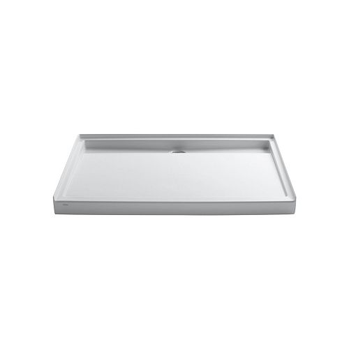 Groove 60-inch x 42-inch Acrylic Single Threshold Shower Base with Rear Center Drain in White