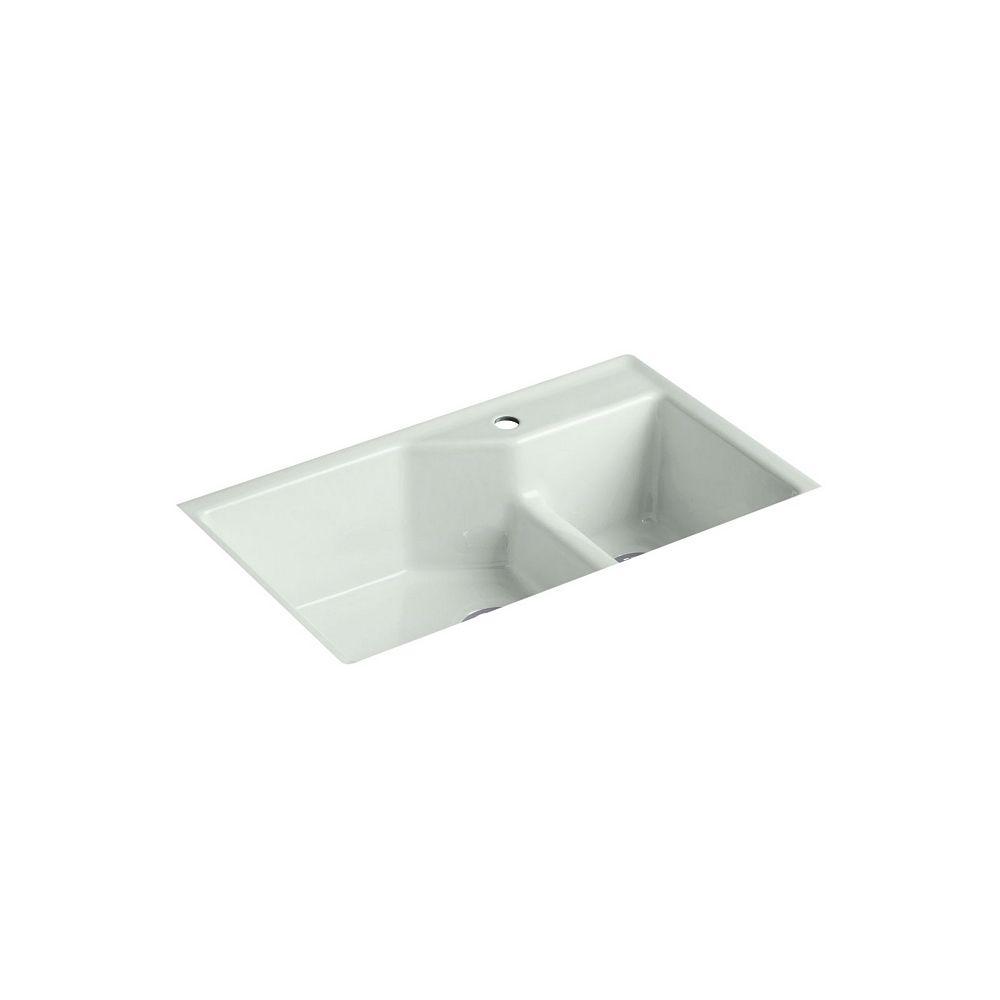 KOHLER Indio Smart Divide Undermount Cast Iron 33  Inch 1-Hole Double Bowl Kitchen Sink In Sea Salt