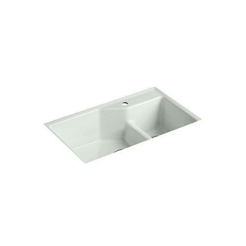 KOHLER Indio Smart Divide Undermount Cast Iron 33  Inch 1-Hole Double Bowl Kitchen Sink In Sea Salt