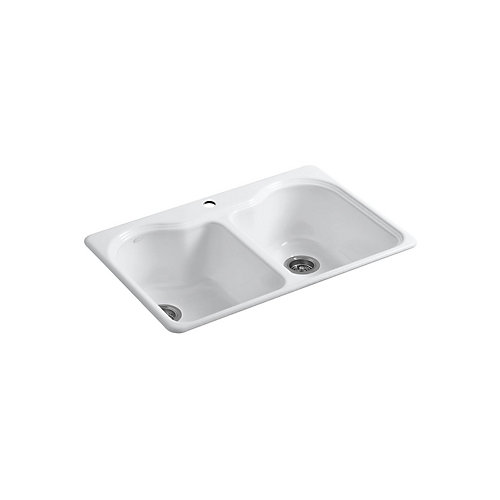 Hartland 33 X 22 X 9-5/8 inch Top-Mount Double-Equal Kitchen Sink With Single Faucet Hole In White