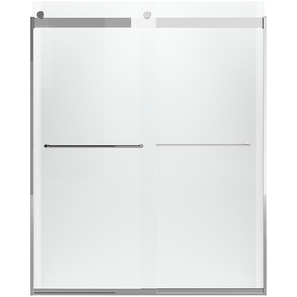 KOHLER Levity 59-5/8  inch W X 74  inch H Frameless Sliding Shower Door With Towel Bar In Silver