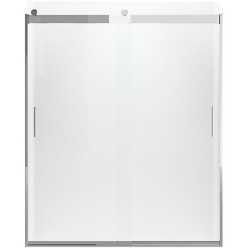Levity 60-1/4  inch X 74  inch Frameless Sliding Shower Door With Handle In Silver