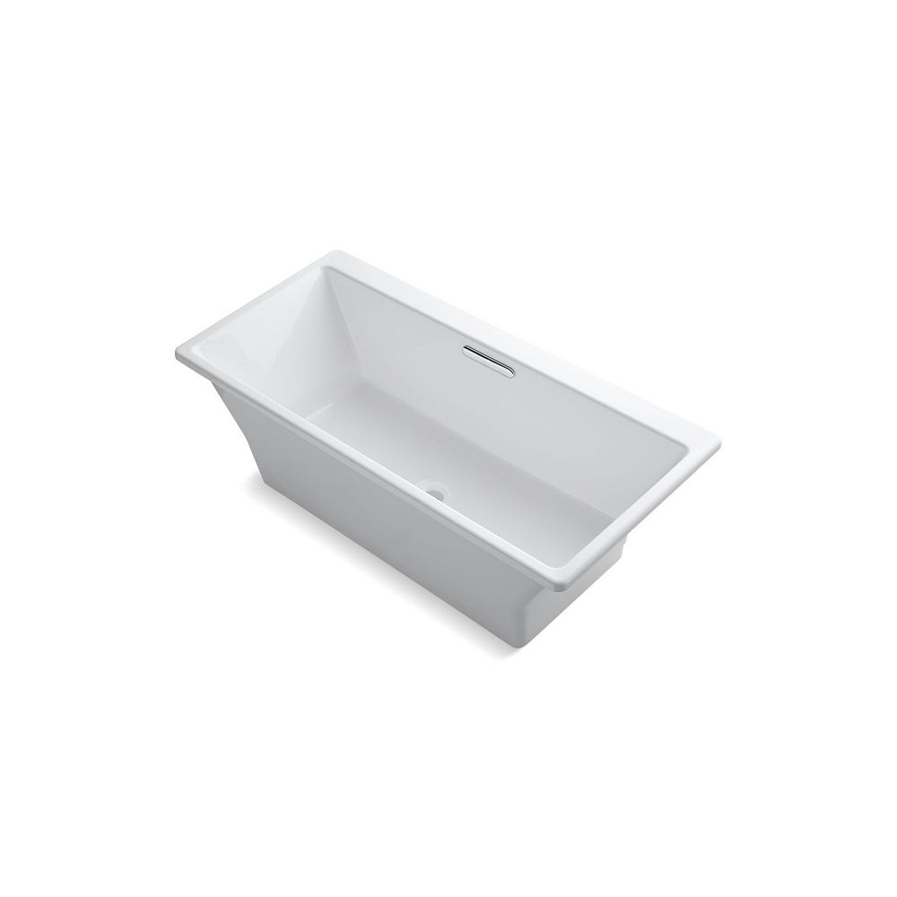 KOHLER Reve 67 inch X 32 inch Freestanding Bath With Brilliant Blanc Base Without Jet Trim, White