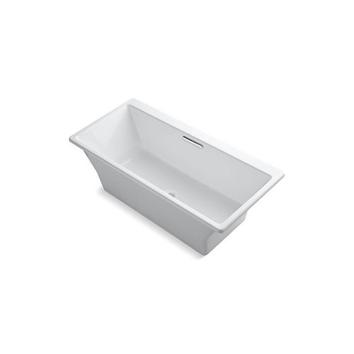 Reve 67 inch X 32 inch Freestanding Bath With Brilliant Blanc Base Without Jet Trim, White