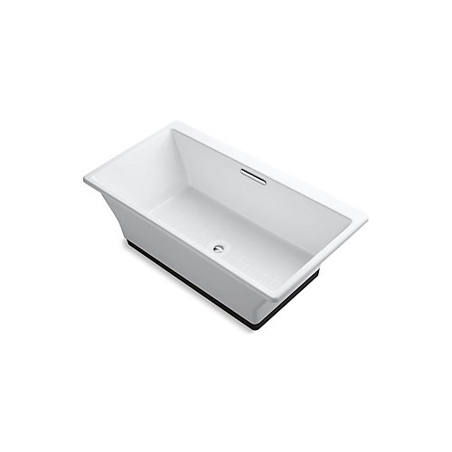 Reve 67 inch X 36 inch Freestanding Bath With Brilliant Ash Base, White