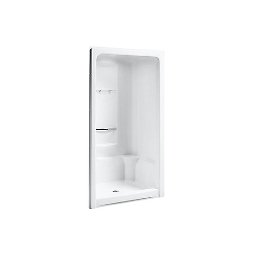 Sonata 48 X 36 inch X 90 inch Center Drain Shower Stall With Integral High-Dome Ceiling In White