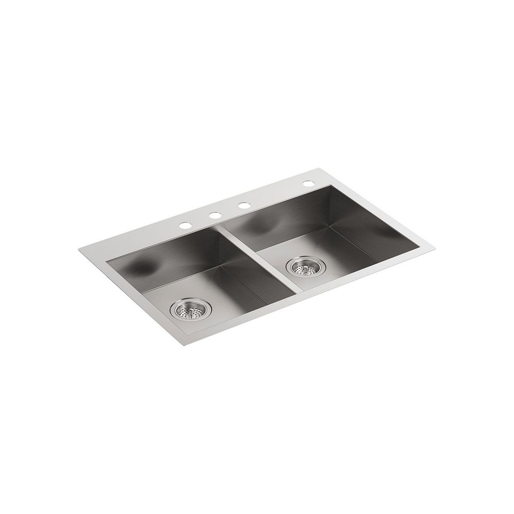 KOHLER Vault 33 inch X 22 inch X 6-5/16 inch Double-Equal Dual-Mount Kitchen Sink With 4 Faucet Holes