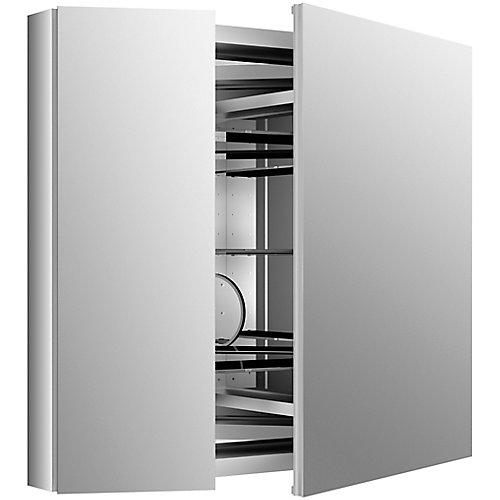 Armoire a pharmacie Verdera en aluminium, 34 x 30 po, avec miroir grossissant reglable et porte a fermeture lente