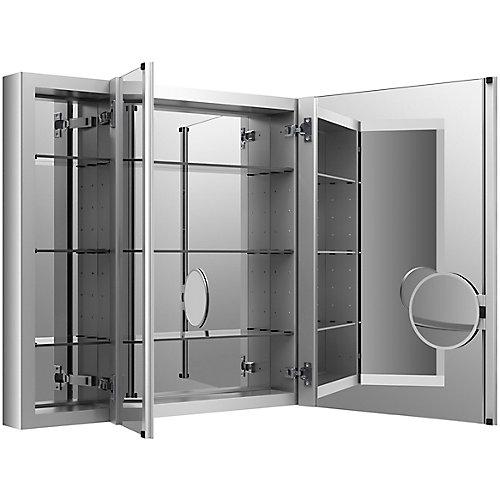 Armoire a pharmacie Verdera en aluminium, 40 x 30 po, avec miroir grossissant reglable et porte a fermeture lente