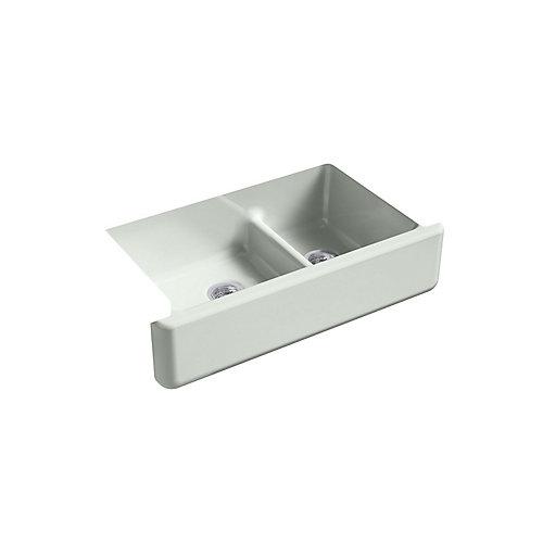 Whitehaven Undermount Cast Iron 35.6875  inch 0-Hole Double Bowl Kitchen Sink In Sea Salt