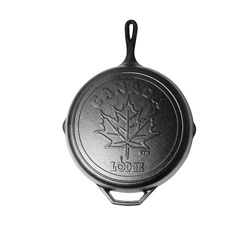 Canadiana Series 12-inch Cast Iron Skillet with Maple Leaf Scene - Limited Edition
