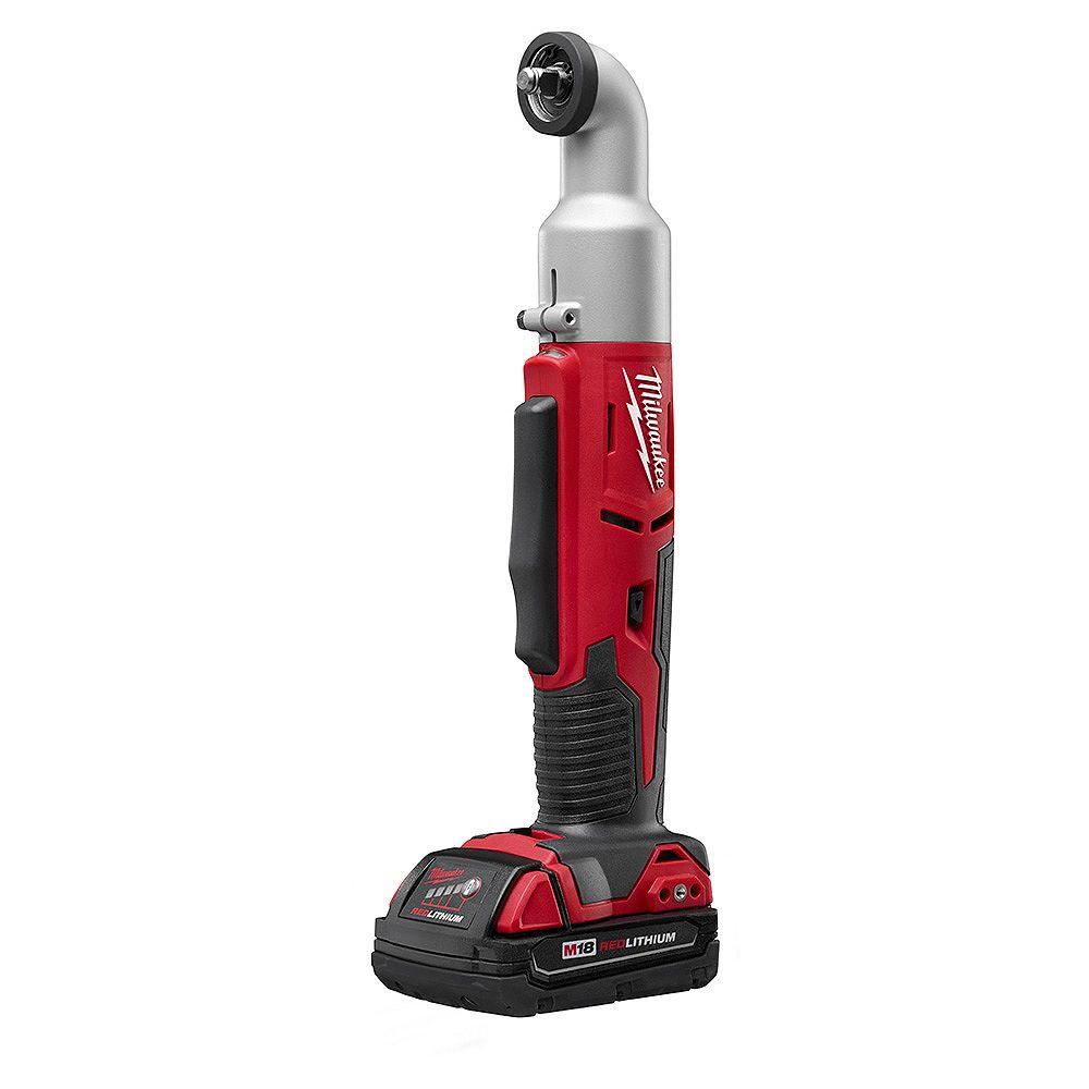 Milwaukee Tool Ens. de clé à chocs à ang. droit à 2vit. sans fil M18 lithium-ion, 3/8po, 18V; batterie, 1,5Ah