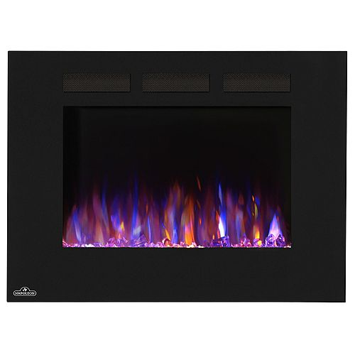 32-inch Wall-Mount Linear Electric Fireplace in Black