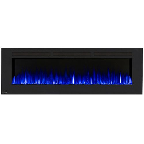 72-inch Wall-Mount Linear Electric Fireplace in Black