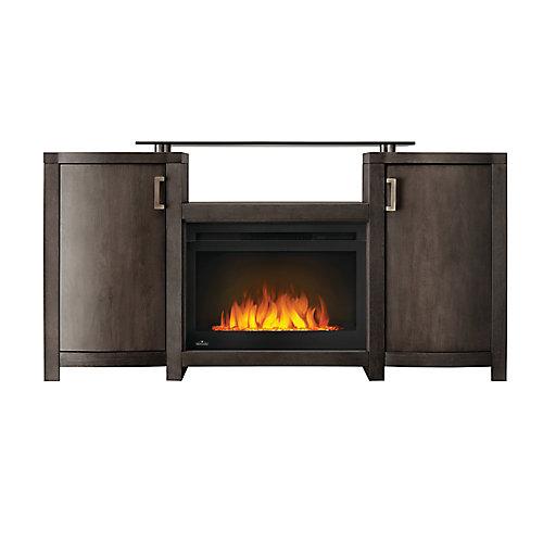 Whitney Electric Fireplace TV Stand with Storage, 24-inch Firebox, Grey