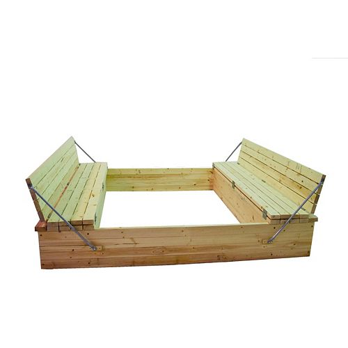 Sand Box 8 ft. X 8 ft.  with Folding Seats and Toy Box