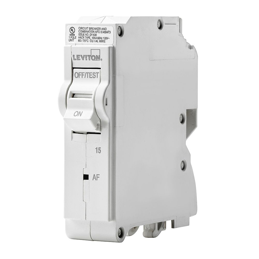 Leviton 1-Pole 15A 120V AFCI Plug-on Circuit Breaker