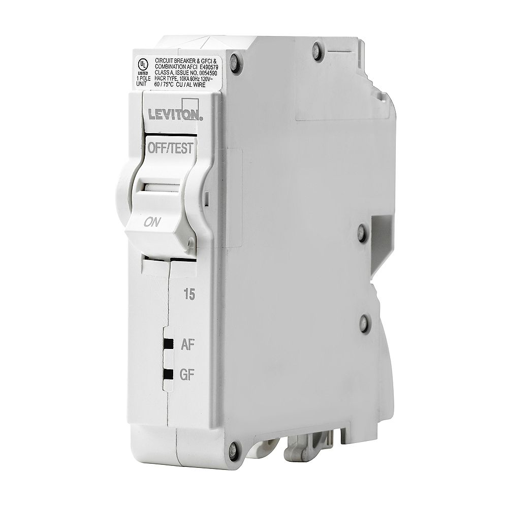 Leviton 1-Pole 15A 120V AFCI/GFCI Plug-on Circuit Breaker