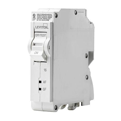Leviton 15A 120V Unipolaire disjoncteur à DDAA/DDFT enfichable
