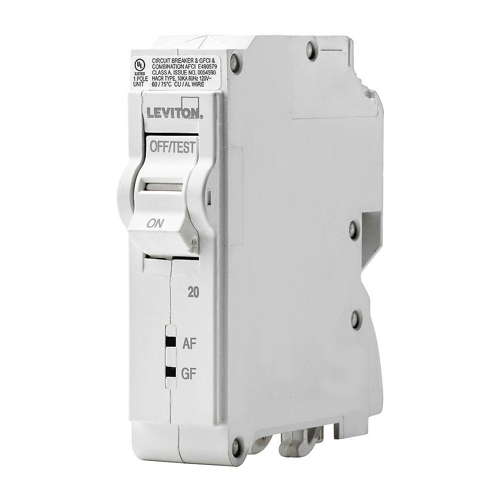 Leviton 1-Pole 20A 120V AFCI/GFCI Plug-on Circuit Breaker