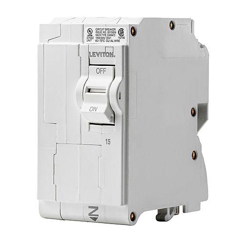 Leviton 2-Pole 15A 120/240V Plug-on Circuit Breaker