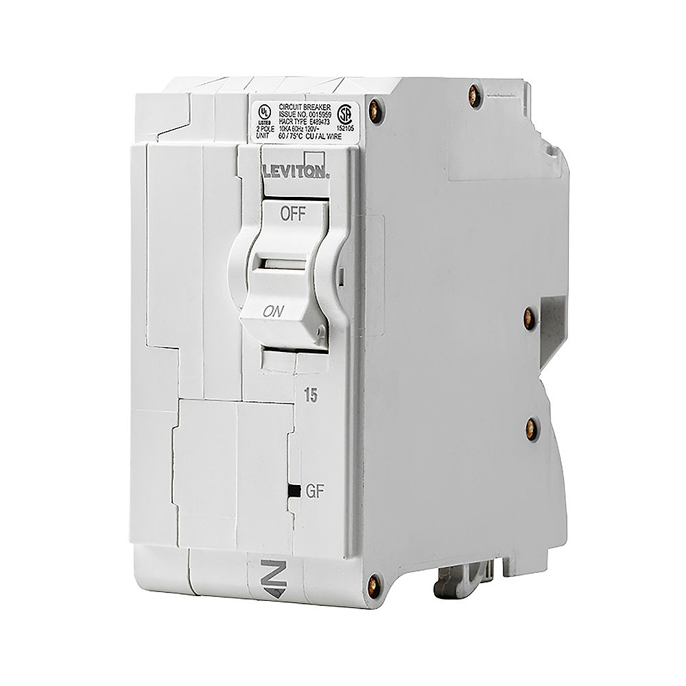 Leviton 2-Pole 15A 120/240V GFCI Plug-on Circuit Breaker