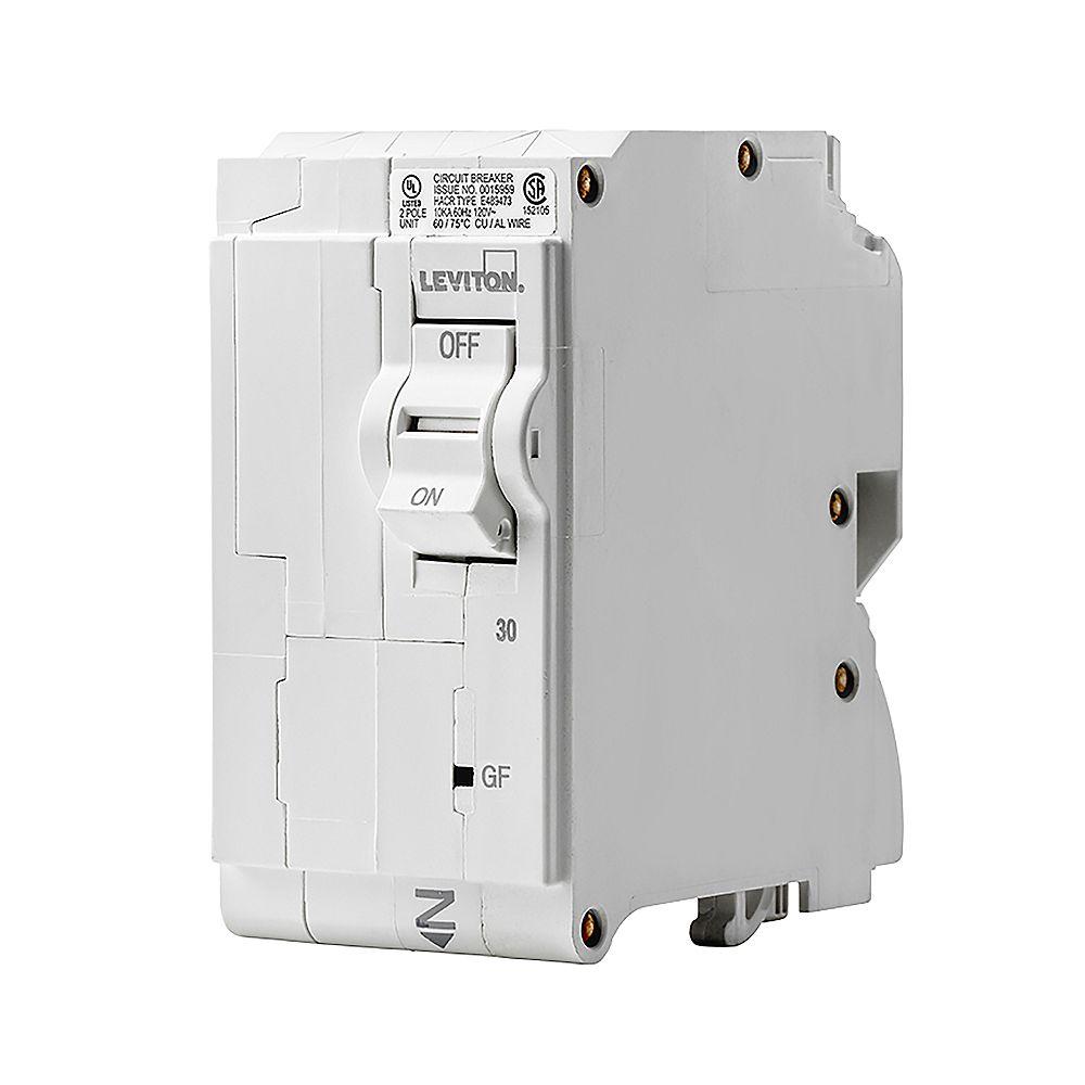 Leviton 2-Pole 30A 120/240V GFPE Plug-on Circuit Breaker