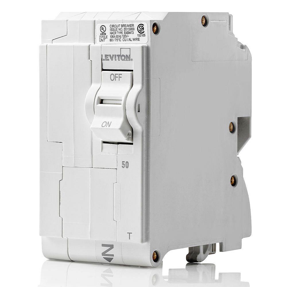 Leviton 2-Pole 50A 120/240V Plug-on Circuit Breaker