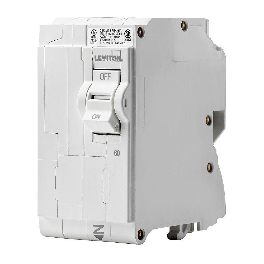 Leviton 2-Pole 60A 120/240V Plug-on Circuit Breaker