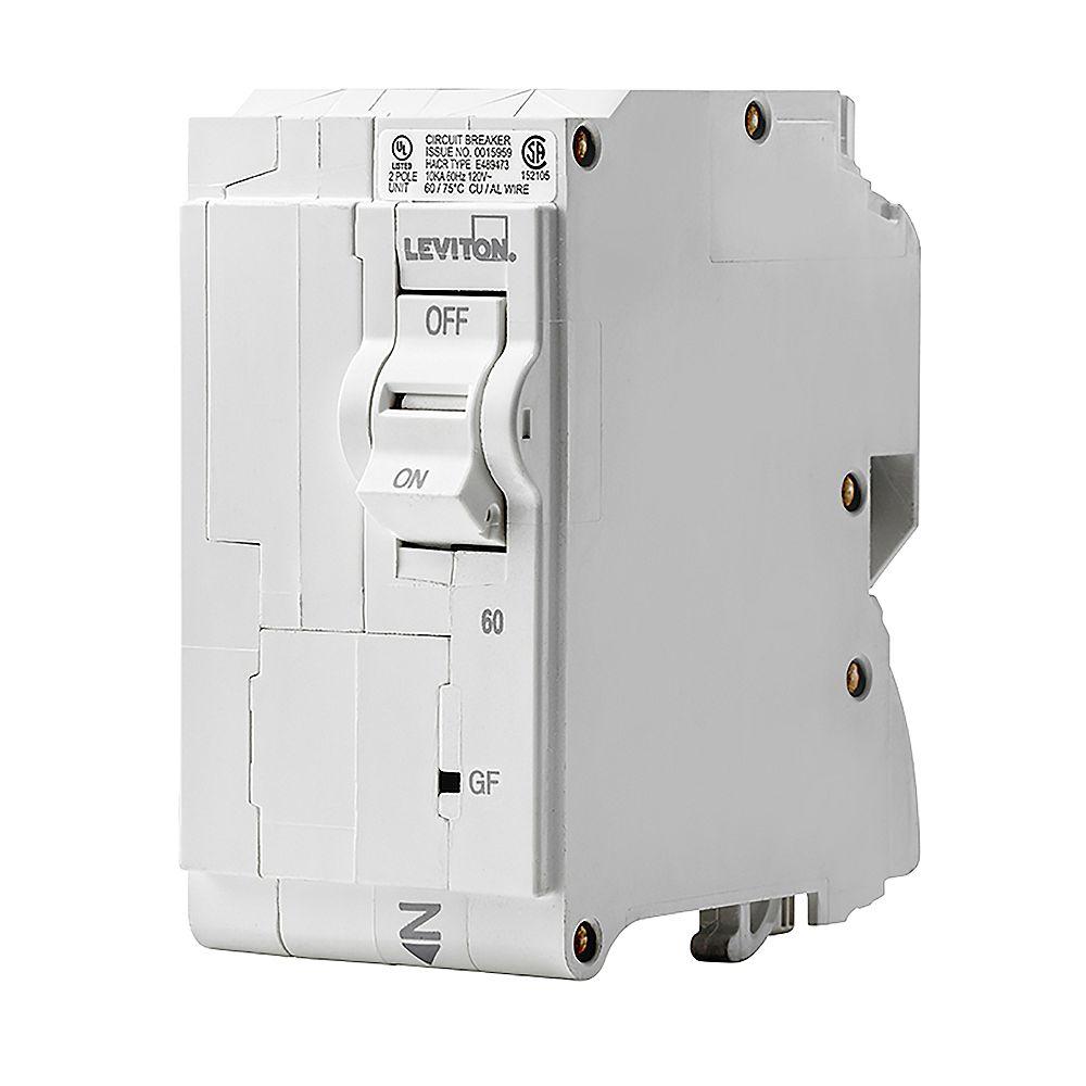 Leviton 2-Pole 60A 120/240V GFCI Plug-on Circuit Breaker