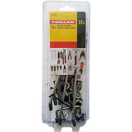 1/4-inch Pegboard Hooks (Assorted 32-Pack)