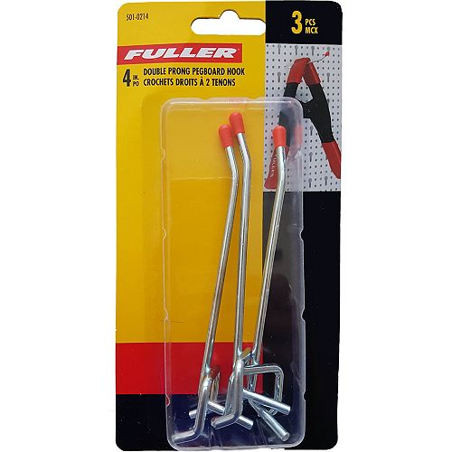 Fuller 4-inch Single Arm Pegboard Hook with Double Prong Base (3-Pack)