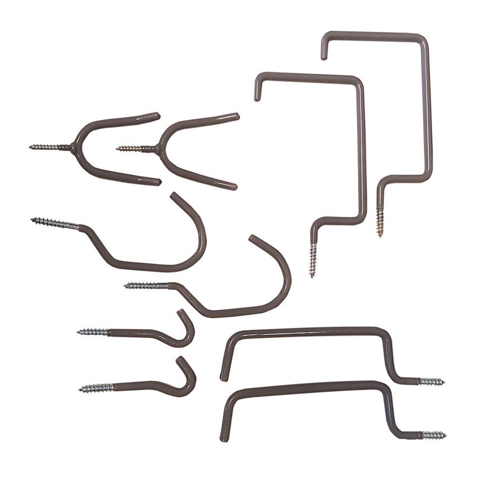 Fuller Vinyl-Coated Screw-In Storage Hooks (Assorted 10-Pack)