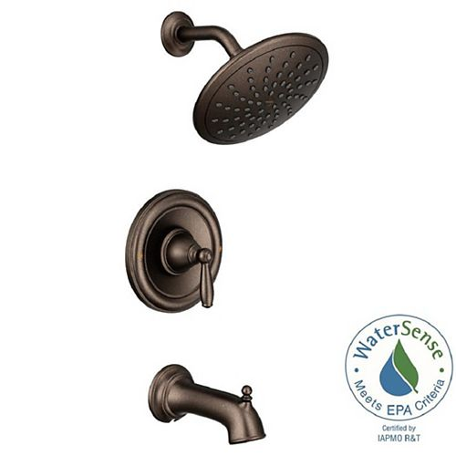 Brantford Posi-Temp Rain Shower Single-Handle Tub and Shower Faucet Trim Kit in Oil Rubbed Bronze (Valve Not Included)