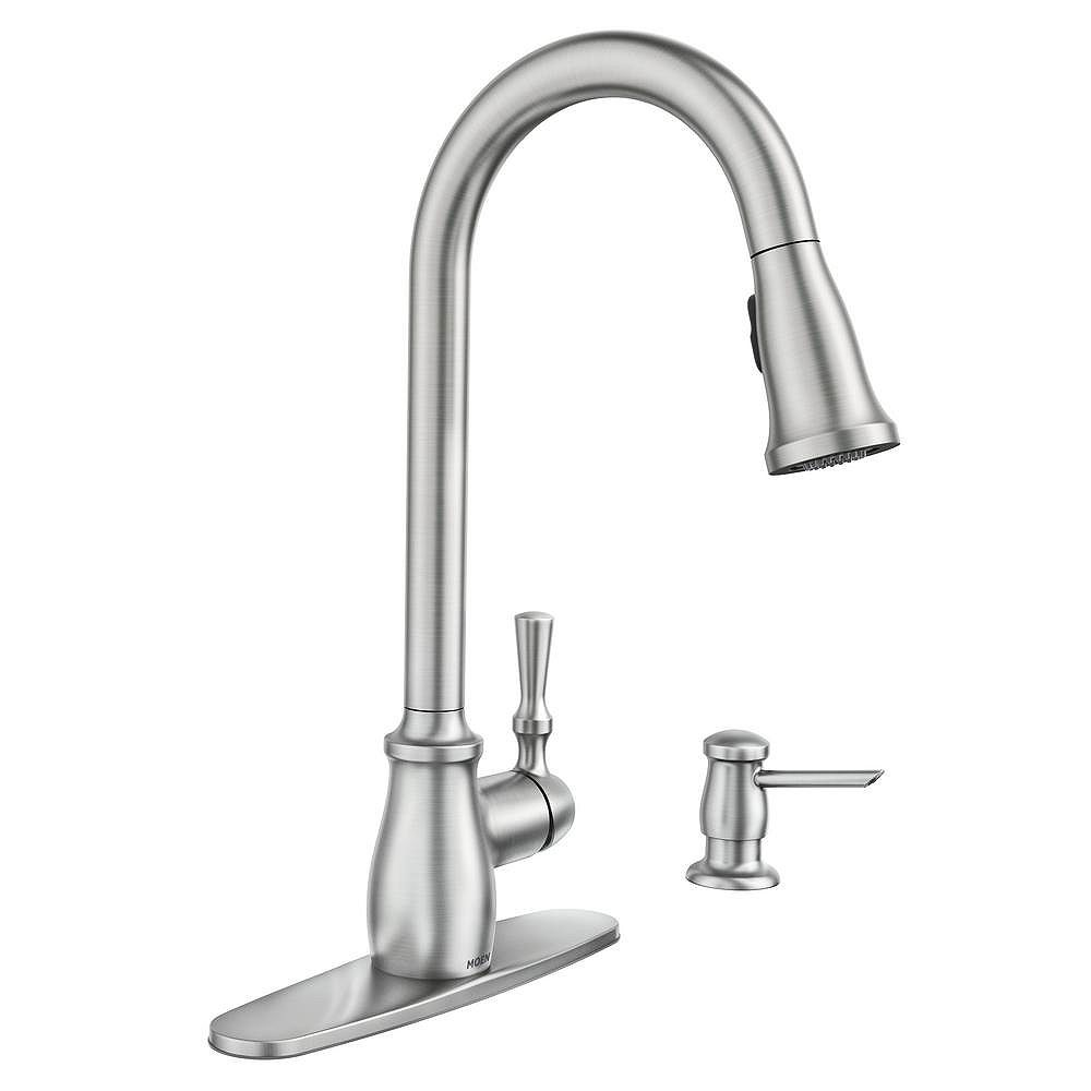 Moen Fieldstone Single Handle Pull Down Sprayer Kitchen Faucet With Reflex And Power Clean The Home Depot Canada