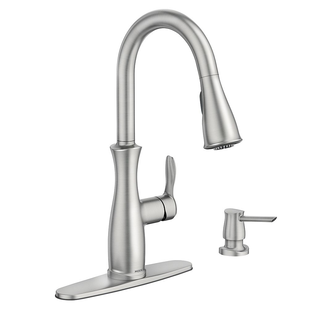 Moen Nellis Single Handle Pull Down Sprayer Kitchen Faucet With Reflex And Power Clean In The Home Depot Canada