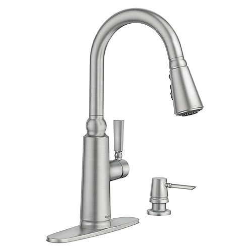 MOEN Coretta Single-Handle Pull-Down Sprayer Kitchen Faucet with Reflex and Power Boost in Spot Resist Stainless