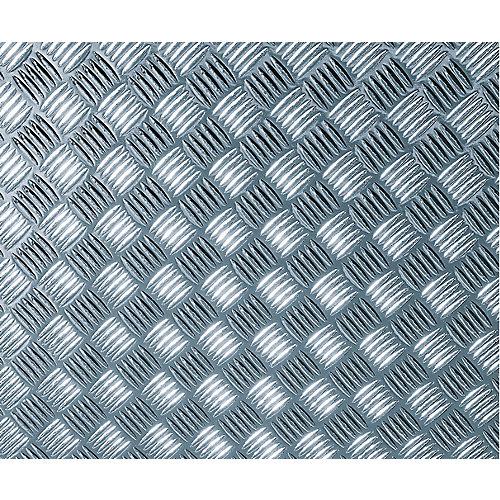 340-8007 Home Decor Self Adhesive Film 26-inch x 59-inch Chequer-plate Silver