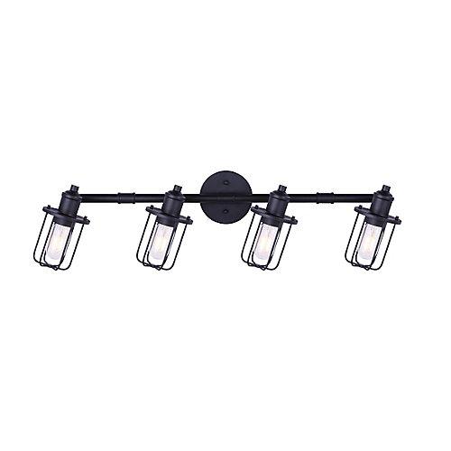 Rail d'éclairage à 4 lumières LADD noir mat avec cage en métal