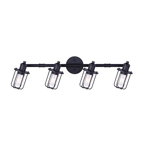 LADD 4-light matte black track light with steel cage