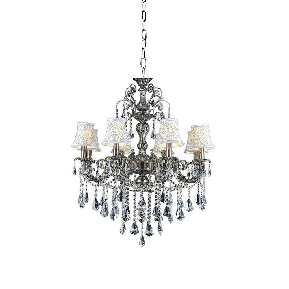 CWI Lighting Brass 30 inches 8 Light Chandelier with Antique Brass Finish